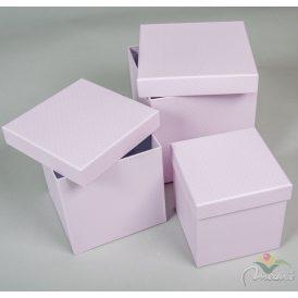 Papír doboz kocka halvány levendula pöttyös 16,14,12cm 3db-os