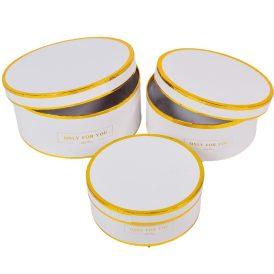 Papír doboz fehér arany szegéllyel D20,18,15CM 3db-os