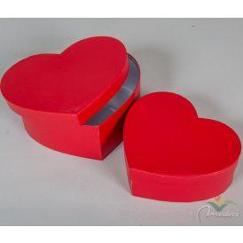 Papírdoboz szív alakú skarlátvörös 22,19cm 2db-os