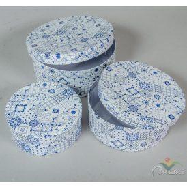 Papír doboz kerek kék vintage mintás D20,18,15cm 3db-os