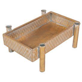 Asztali szögletes fém gyertyatartós tálca antik arany 35x26x14cm