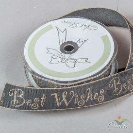 Díszitő szalag BEST WISHES szürke25mm x 10m