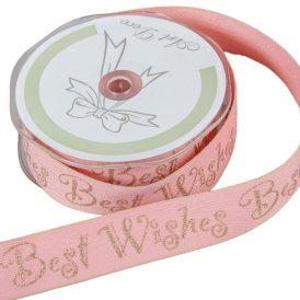 Díszitő szalag BEST WISHES rózsaszín 25mm x 10m