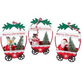 Fém kocsi karácsonyi figurával M10cm