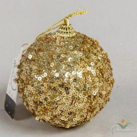 Flitteres gömb világos arany 8cm