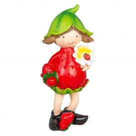 Eper lányka virággal poly. M14cm