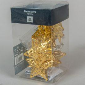 10 ledes áttört fém csillag füzér elemes (elem nélkül)