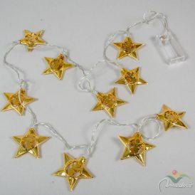 10 ledes fém csillag füzér elemes (elem nélkül)