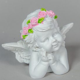 Angyal rózsaszín virággal poly. M8cm
