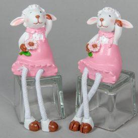 Bari lány virággal poly. rózsaszín M9cm