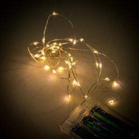 40 LED-es fényfüzér elemes (elem nékül) meleg