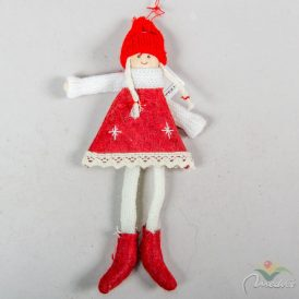 Akasztós textil lányka piros 22cm