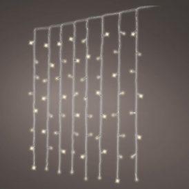 120 LED-es átlátszó kábeles függöny adapteres meleg