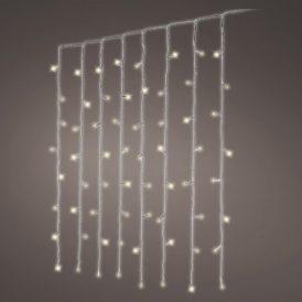 240 LED-es átlátszó kábeles függöny adapteres meleg