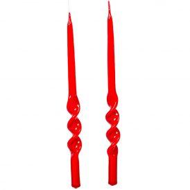 Lakkozott rövid ceruza alfa csavart gyertya piros  235x10mm 8db/csom (db ár)