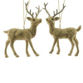 Akasztós rénszarvas arany glitteres 12,5cm