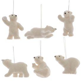 Akasztós jegesmaci glitteres fehér m8,5cm