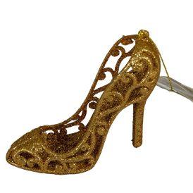 Műanyag magassarkú glitteres intenzív arany 8,5cm