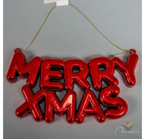 Műanyag MERRY CHRISTMAS felirat piros akasztós 20cm