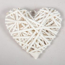 Vessző alap tele szív fehér 15cm