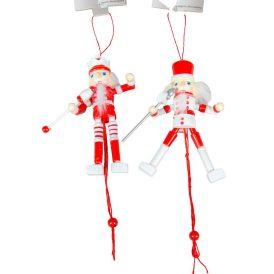 Akasztós diótörő figura piros-fehér 12,5cm