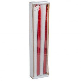 Lakkozott ceruza gyertya bordó 230x10mm 8db/csom (db ár)