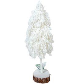 Fenyőfa fatalpon fehér M:44cm