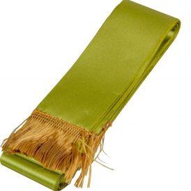 Koszorú szalag 5x150cm fűzöld-arany 10db/csom (db ár)