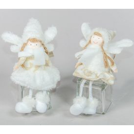 Lógólábú angyal fehér-arany 10cm