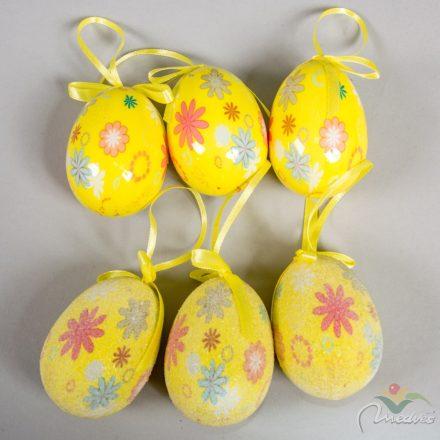 Műanyag tojás fényes/cukros sárga virágmintás 7cm 6db-os