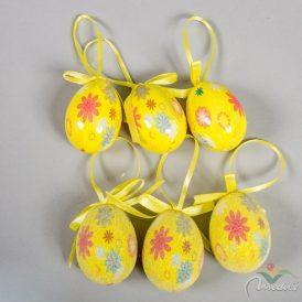 Műanyag tojás fényes/cukros sárga virágmintás 6cm 6db-os