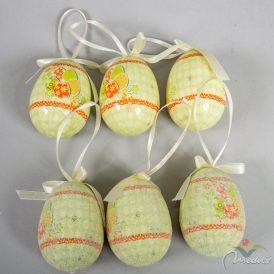 Műanyag tojás fényes/cukros zöld 7cm 6db-os