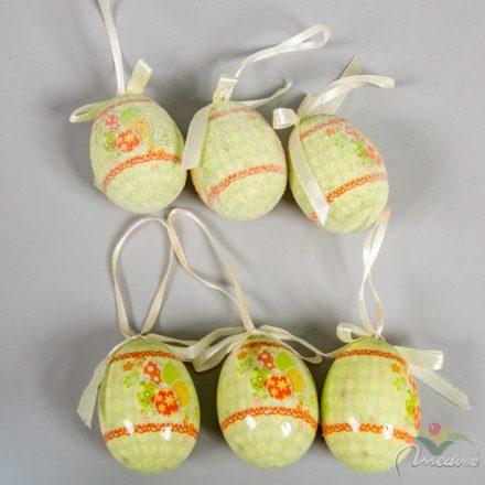 Műanyag tojás fényes/cukros világoszöld tojásmintás 6cm 6db-os