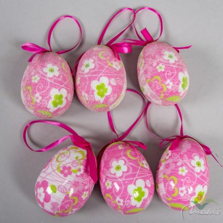 Műanyag tojás fényes/cukros pink 7cm 6db-os