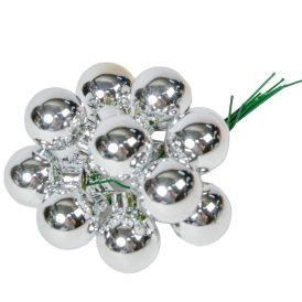 Üveg gömb ezüst fényes 2cm 12db-os