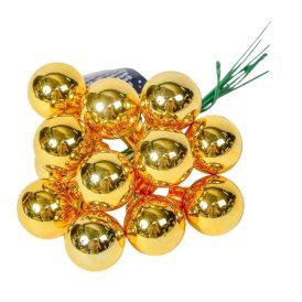 Üveg gömb világos arany fényes 2cm 12db-os