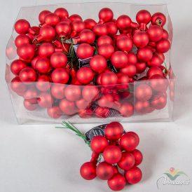 Üveg gömb piros matt 2cm 12db-os