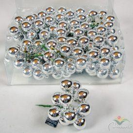 Üveg gömb ezüst 2,5cm 12db-os