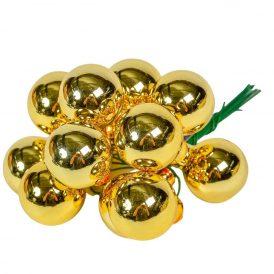 Üveg gömb viágos arany fényes 2,5cm 12db-os