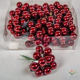 Üveg gömb bordó fényes 2,5cm 12db-os