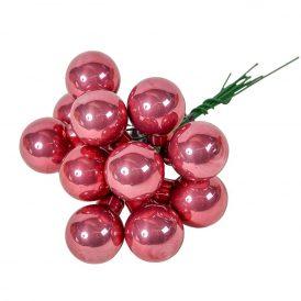 Üveg gömb bársony rózsaszín  2cm 12db-os