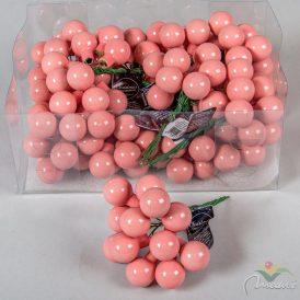 Üveg gömb cukorka rózsaszín 2cm 12db-os