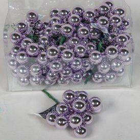 Üveg gömb fagyos lila fényes 2cm 12db-os