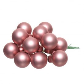 Üveg gömb bársony rózsaszín matt 2cm 12db-os