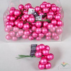 Üveg gömb élénk rózsaszín matt 2cm 12db-os