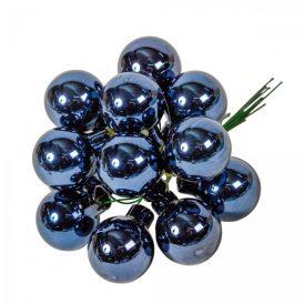 Üveg gömb éj kék fényes 2,5cm 12db-os