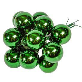 Üveg gömb  fenyő zöld fényes 2,5cm 12db-os