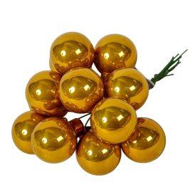 Üveg gömb mustár 2,5cm 12db-os
