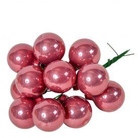 Üveg gömb bársony rózsaszín 2,5cm 12db-os