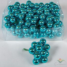 Üveg gömb  türkiz fényes 2,5cm 12db-os